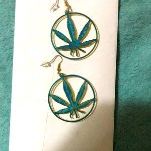 THC Leaf hoop earrings